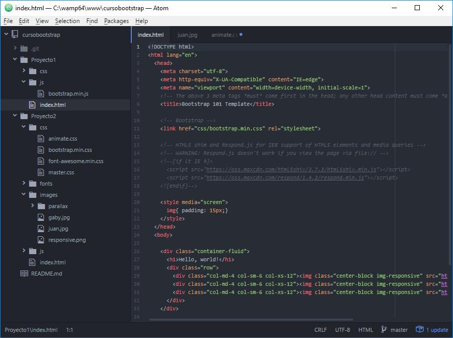 Vista de Atom, uno de los mejores editores para html, css, js y php