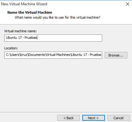 Colocar nombre en la maquina virtual