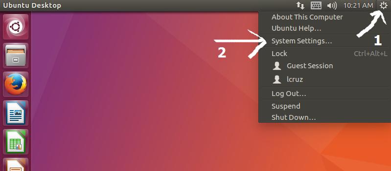 Opciones de sistema en ubuntu