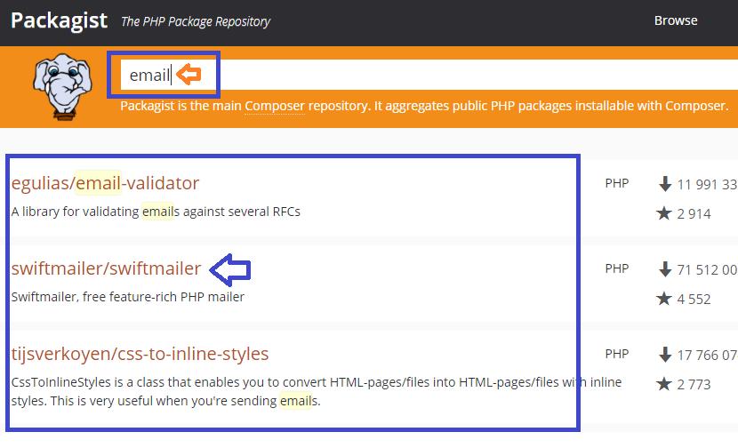 Buscar paquetes para php y composer