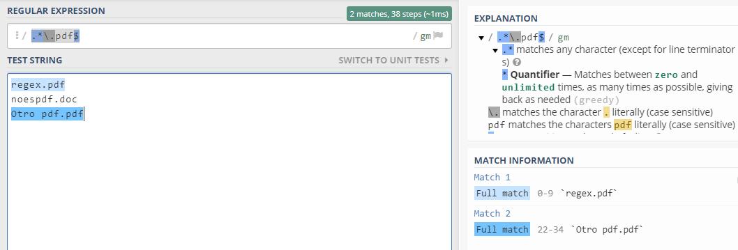 Expresion regular para buscar archivos de tipo pdf