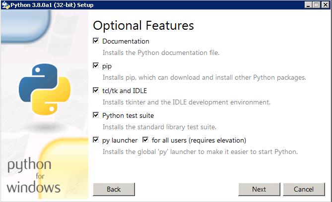 Opciones que hay que elegir al instalar Python