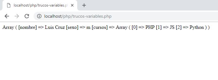 Salida del comando print_r de php, trucos de php
