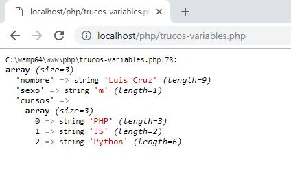 Salida de comando var_dump de php, trucos de php