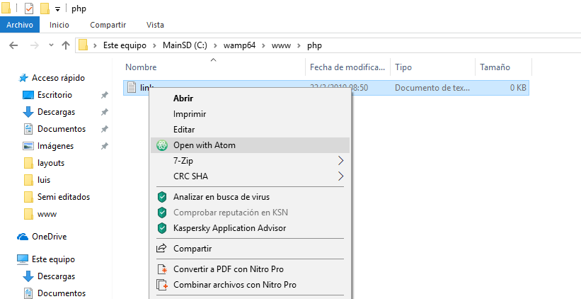 Como abrir un archivo en Atom desde windows