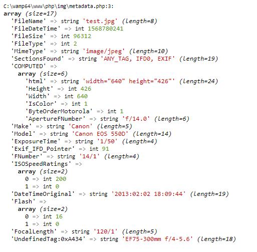Función exif_read_data para extrar metadata de imagenes usando php