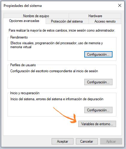 Editar variables de entorno en Windows