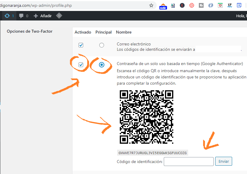 Configurar autenticación de dos factores en WordPress