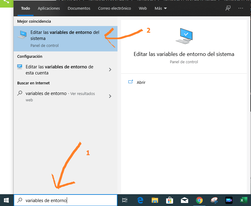 Buscar variables de entorno en windows 10