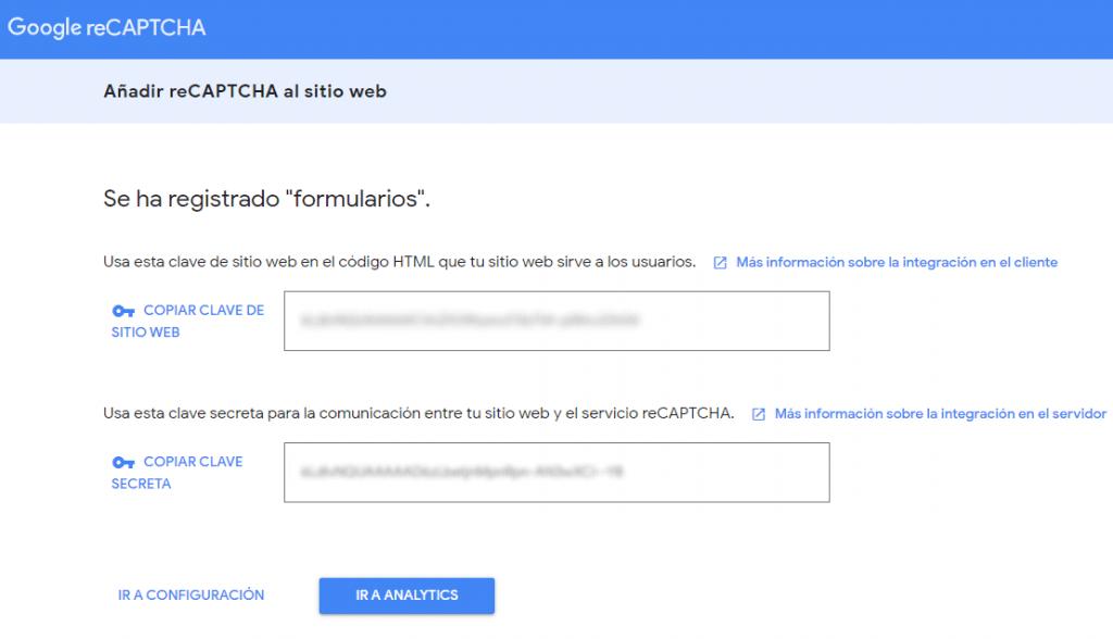 Claves de Google recaptcha