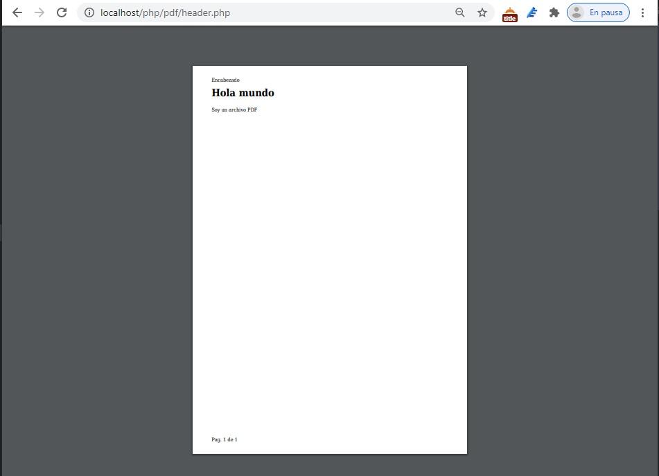 Como generar PDF con encabezado y pie de pagina.