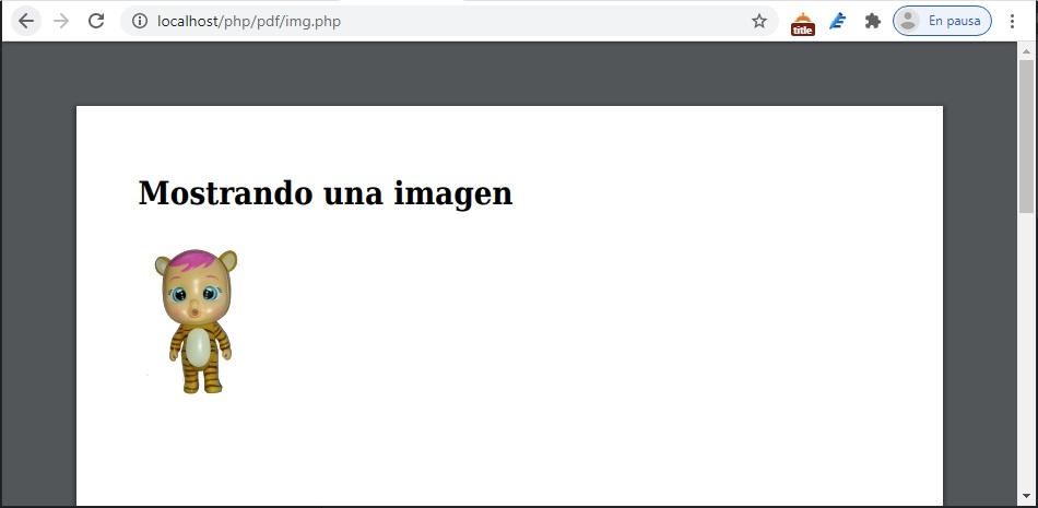 Ejemplo de PDF generado con PHP y mostrando una imagen, la libreria que uso es mpdf.