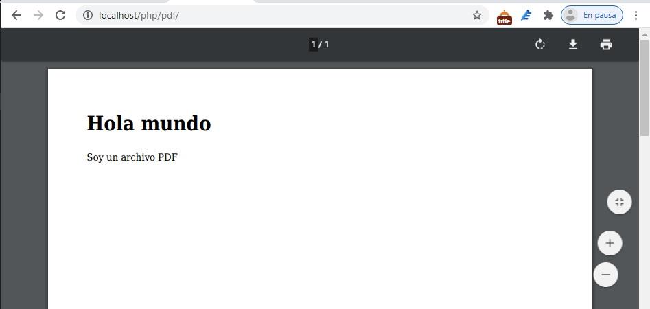 Ejemplo de PDF generado con PHP y HTML