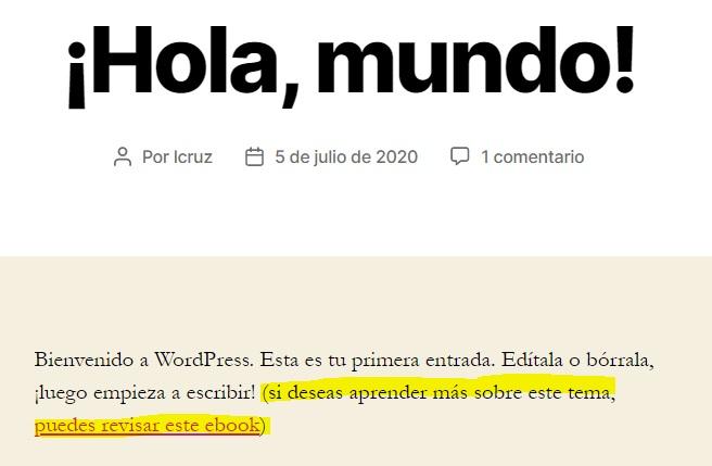 Ejemplo de shortcode en WordPress