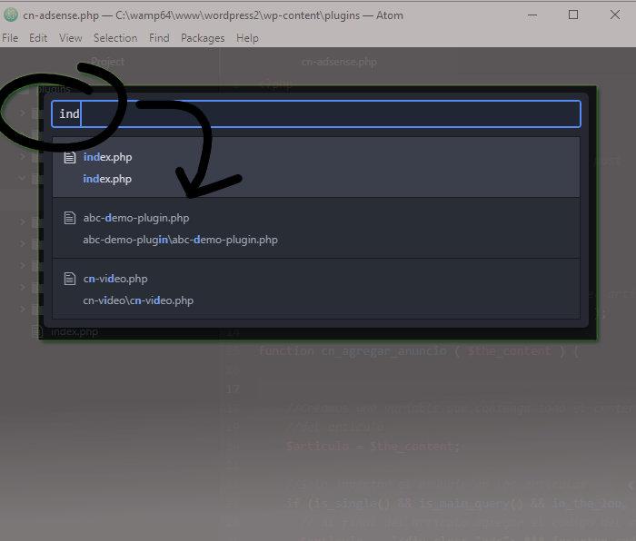 Atom: Buscar archivos.