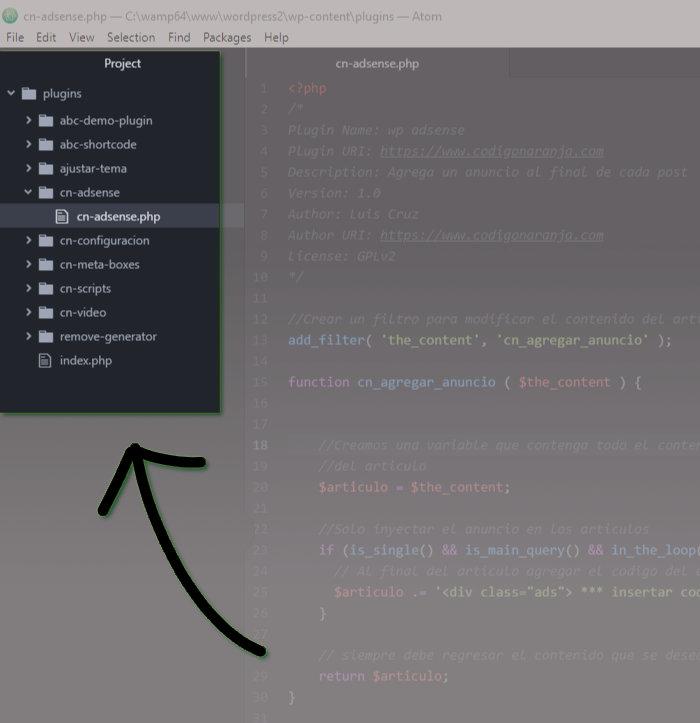Editor Atom, permite enfocarte en la carpeta en donde esta tu código.